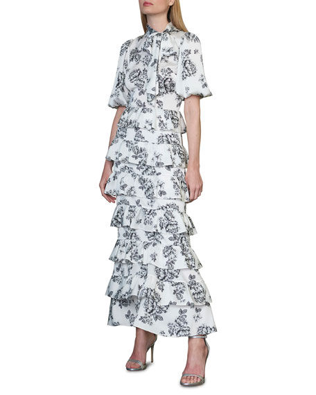 ML Monique Lhuillier Floral Tie-Neck Puff-Sleeve Tiered Ruffle Midi Dress