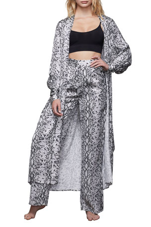 Good American Python-Print Long Robe - Inclusive Sizing
