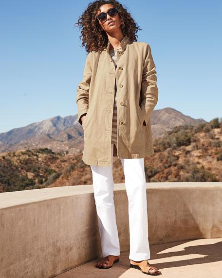 Eileen Fisher Striped Long-Sleeve Organic Linen/Cotton Tunic