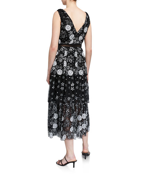 Self-Portrait Starlet Deco Sequined Tiered Midi Dress