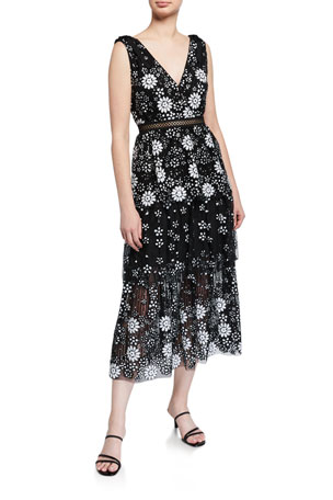 Self-Portrait Starlet Deco Sequined Tiered Midi Dress