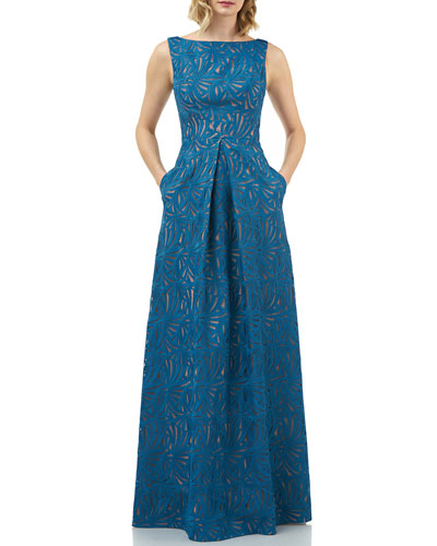 Mckenna Boat-Neck Sleeveless Embroidered Lace Gown