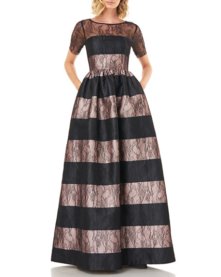 Kay Unger New York Alexis Striped Short-Sleeve Mikado Ball Gown with Lace