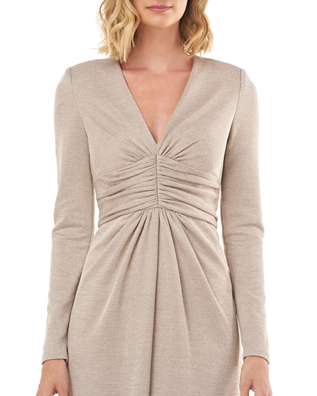 Kay Unger New York Kayla Metallic V-Neck Long-Sleeve Gown