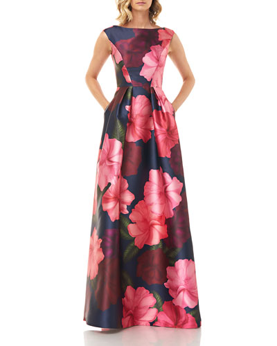 Paige Floral Printed Mikado Gown