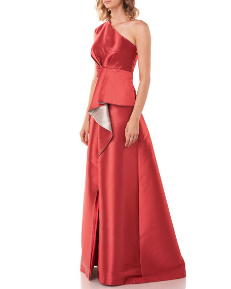 Kay Unger New York Riley One-Shoulder Cascading Drape Lola Twill Jacquard Gown