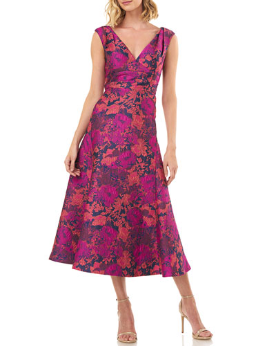Charlotte Sleeveless Floral Jacquard Midi Dress