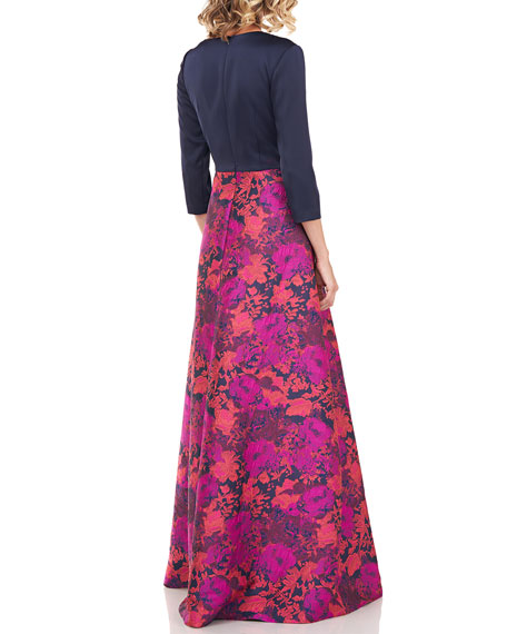 Kay Unger New York Izabella Stretch Faille Bodice Floral Jacquard Gown
