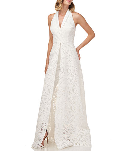 Nadia Embroidered Lace Tuxedo Jumpsuit w/ Pants