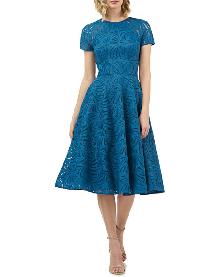Kay Unger New York Mckenna Embroidered Lace Fit-&-Flare Dress