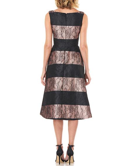 Kay Unger New York Sarah Sleeveless Striped Mikado Dress with Lace