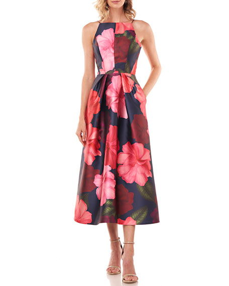 Kay Unger New York Madeline Floral-Printed Mikado Halter Dress