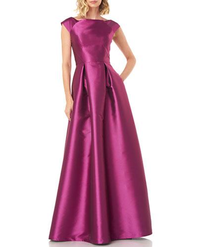Addison Boat-Neck Lola Twill Jacquard Gown