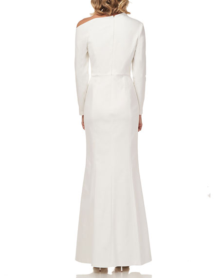 Kay Unger New York Katiana Asymmetric Long-Sleeve Heavy Stretch Crepe Gown