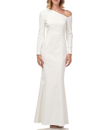 Katiana Asymmetric Long-Sleeve Heavy Stretch Crepe Gown