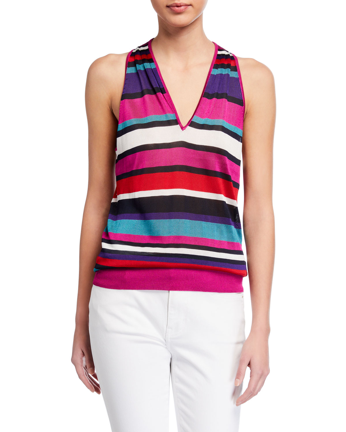 Ramy Brook Dale Striped Sleeveless Top