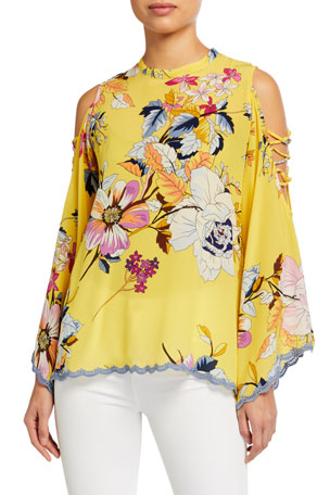 Johnny Was Bondi Floral-Print Open Arm Detail Silk Top