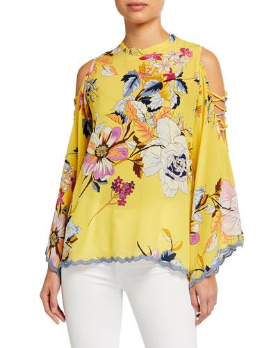 Plus Size Bondi Floral-Print Open Arm Detail Silk Top