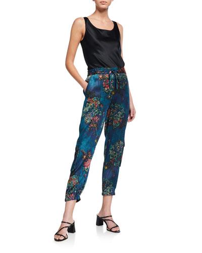 Marcelle Floral-Print Stretch Silk Pants