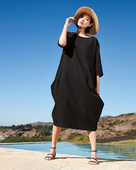 DUBGEE by Whoopi Plus Size 1/2-Sleeve Textured Cotton Cocoon Dress