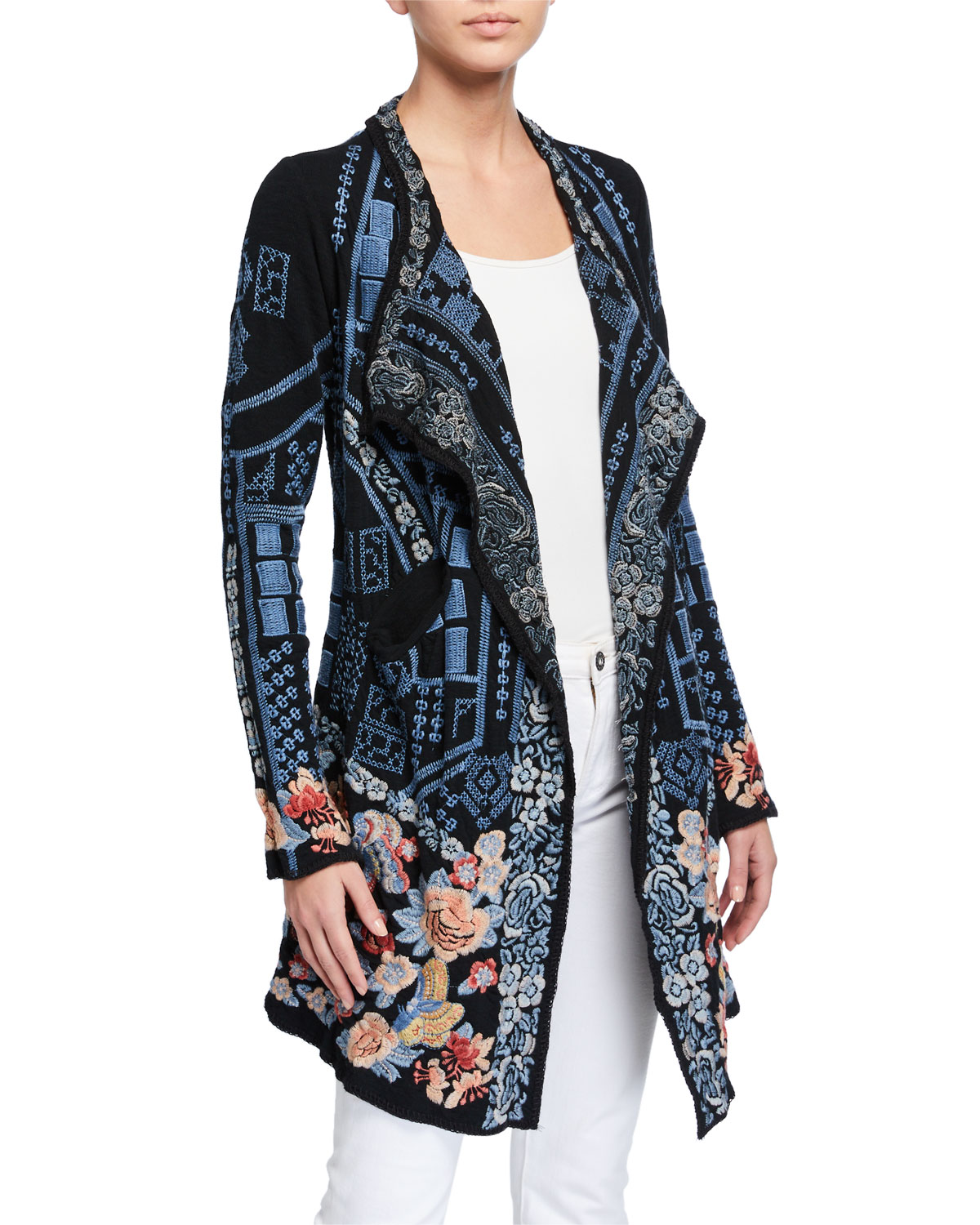 Johnny Was Plus Size Klori Embroidered Knit Jacket