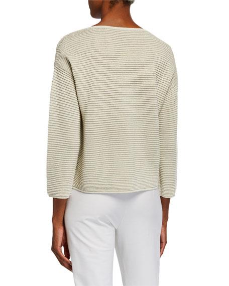 Eileen Fisher Bracelet-Sleeve Sparkle Crepe Rib Sweater