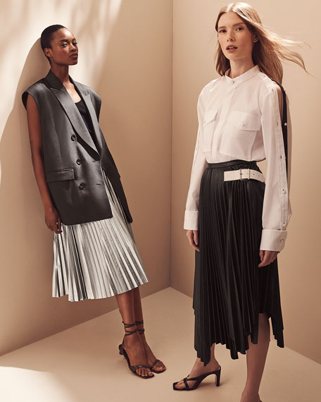 Tibi Metallic Nylon Pleated Midi Skirt