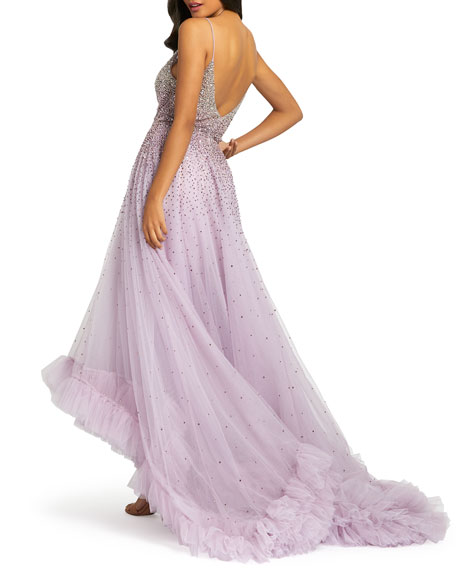 Image 2 of 2: Mac Duggal Bead Embellished High-Low Ruffle Trim Tulle Gown
