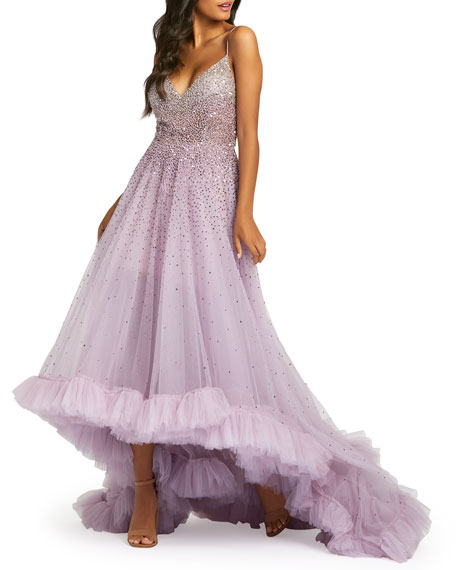 Image 1 of 2: Mac Duggal Bead Embellished High-Low Ruffle Trim Tulle Gown