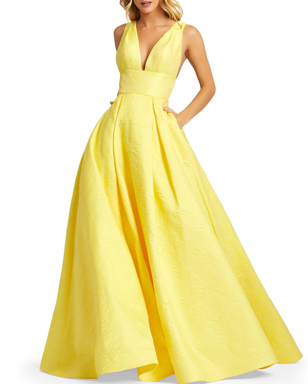 Mac Duggal Floral Brocade Empire-Waist Ball Gown w/ Pockets