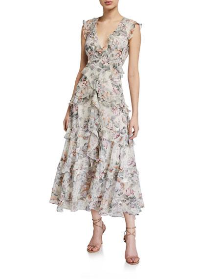 Bardot Nelly Floral Ruffle Midi Dress