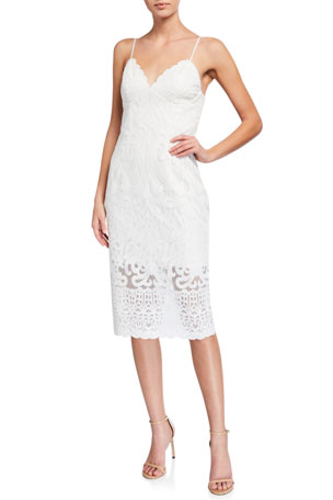 Bardot Gia Lace V-Neck Bodycon Cocktail Dress