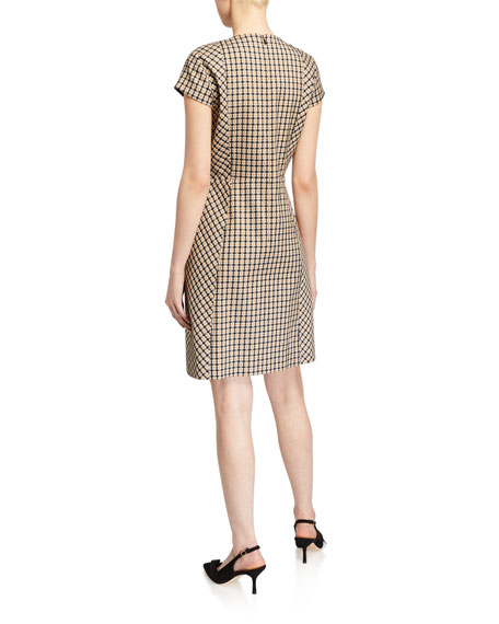 Image 2 of 2: Elie Tahari Louisa Cap-Sleeve Check Dress