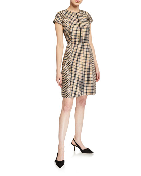 Image 1 of 2: Elie Tahari Louisa Cap-Sleeve Check Dress