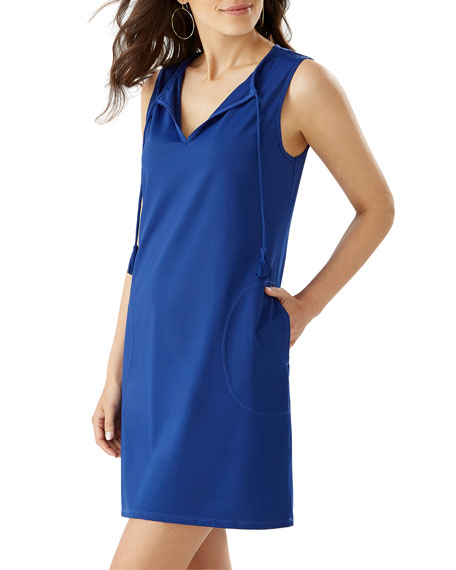 Image 1 of 2: Pearl Solid Sleeveless Spa Dress