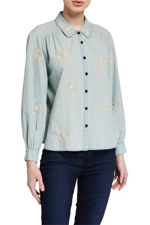 The Great The Stable Button-Up Top with Floral Embroidery