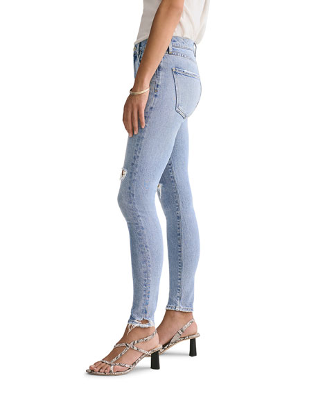 Image 2 of 3: AGOLDE Sophie Mid-Rise Ankle Skinny Jeans with Knee Rip