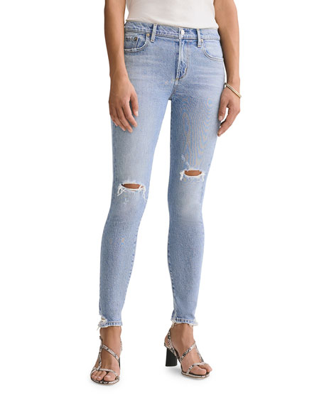Image 1 of 3: AGOLDE Sophie Mid-Rise Ankle Skinny Jeans with Knee Rip