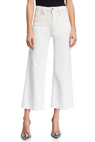 PAIGE Anessa Cropped Wide-Leg Jeans
