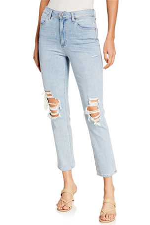 PAIGE Sarah Distressed High-Rise Slim Jeans