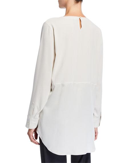 Eileen Fisher Silk Crepe Long-Sleeve Tunic
