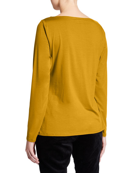 Eileen Fisher Slim Bateau-Neck Long-Sleeve Top