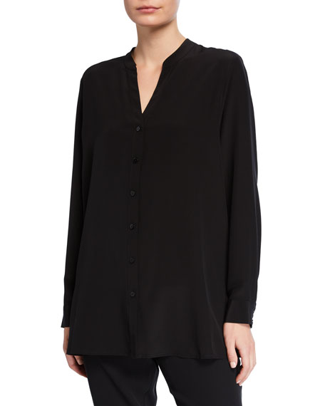 Eileen Fisher Petite Silk Crepe Button-Front Shirt