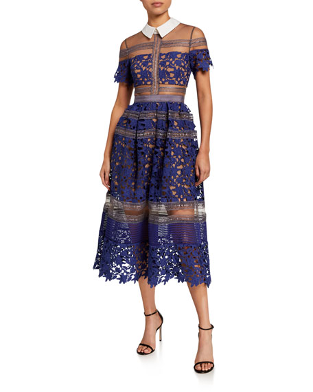 Self-Portrait Liliana Collared Lace Midi Dress
