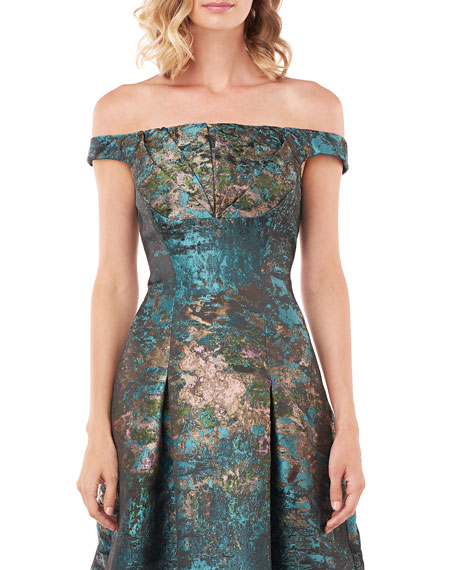 Kay Unger New York Carina Abstract Brocade Off-the-Shoulder Midi Dress