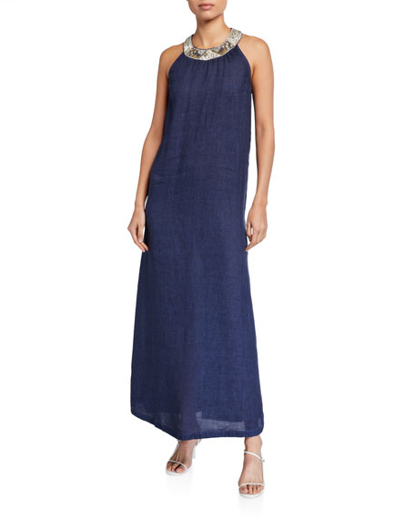 Image 1 of 2: 120% Lino Antique Embellished Halter-Neck Maxi Dress