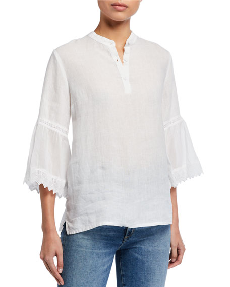 Image 2 of 3: 120% Lino Button-Placket 3/4 Pleated Ruffle Sleeve Blouse