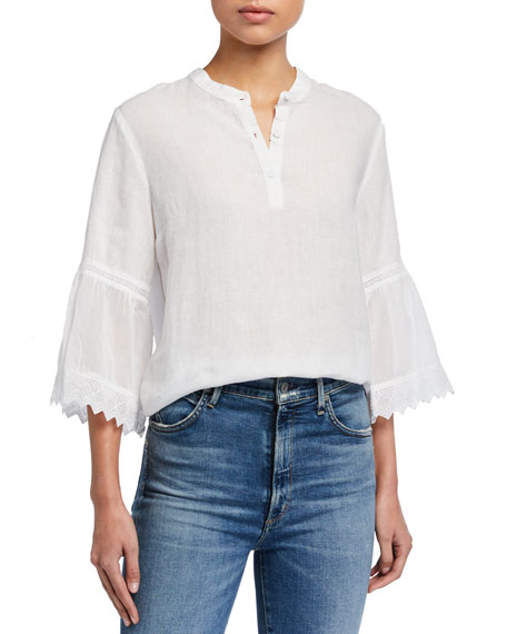 Image 1 of 3: 120% Lino Button-Placket 3/4 Pleated Ruffle Sleeve Blouse