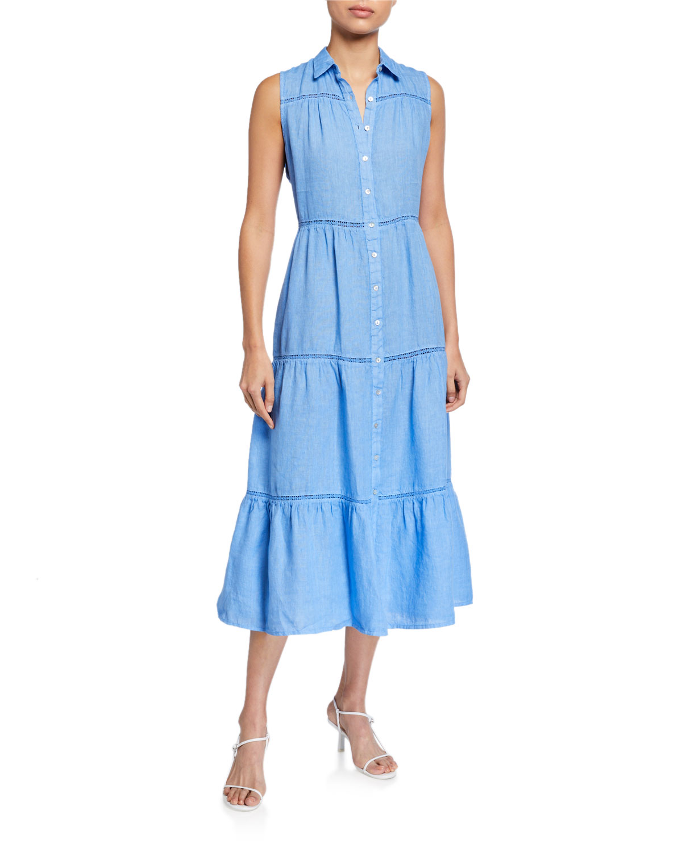 120% Lino Button-Front Sleeveless Tiered Midi Dress