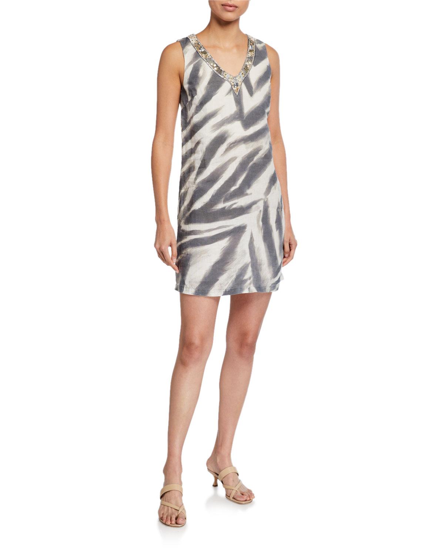 120% Lino Zebra Stripe Embellished V-Neck Shift Dress